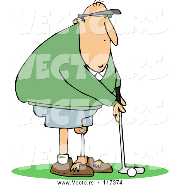 Vector of Cartoon Golfing White Guy with an Artificial Prosthetic Leg