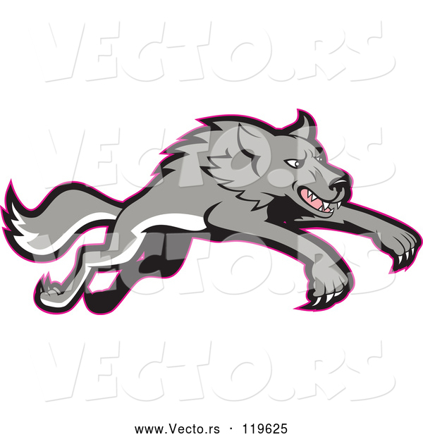 Vector of Cartoon Gray Wolf Leaping, with a Red Outline
