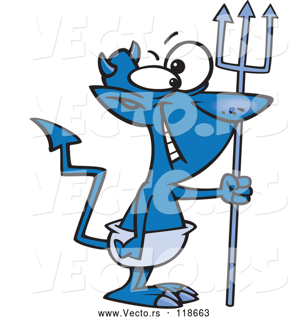 Vector of Cartoon Grinning Blue Devil with a Crooked Tail
