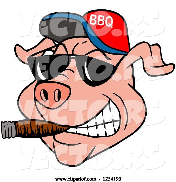 Vector of Cartoon Grinning Pig Smoking a Cigar, Wearing Sunglasses and a Bbq Hat