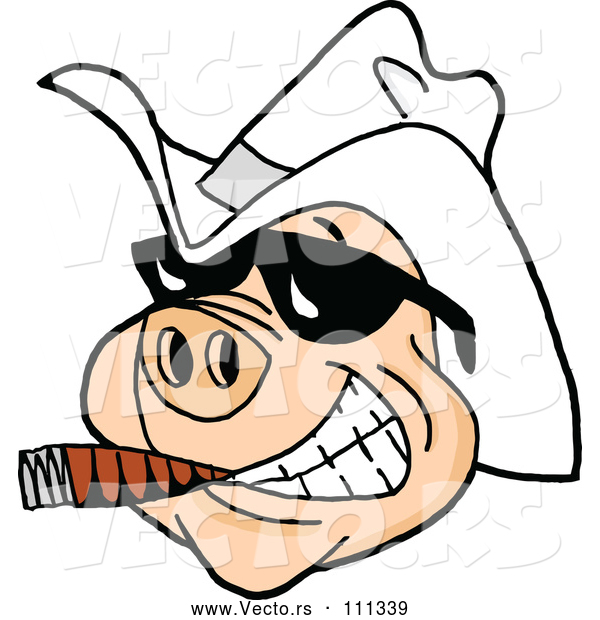 Vector of Cartoon Grinning Pig Wearing Sunglasses and a White Cowboy Hat, Smoking a Cigar