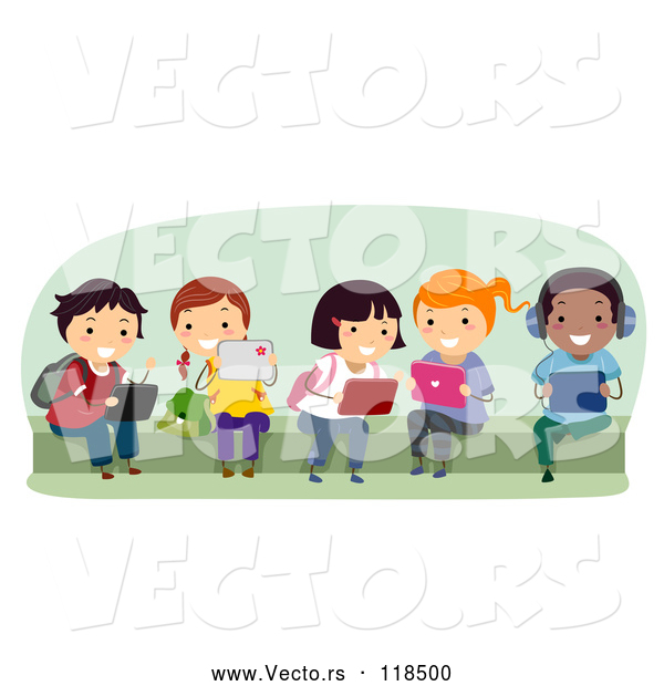 Vector of Cartoon Group of Happy Diverse School KChildren Using Tablet Computers on a Bench