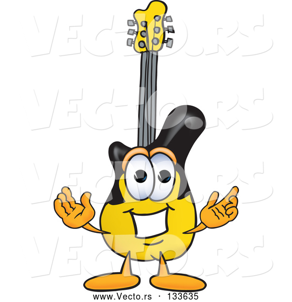 Vector of Cartoon Guitar Mascot Character with Welcoming Open Arms