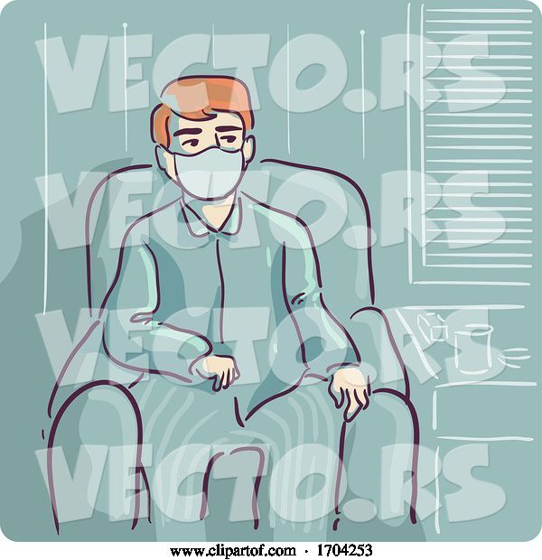 Vector of Cartoon Guy Self Quarantine Inside House Illustration