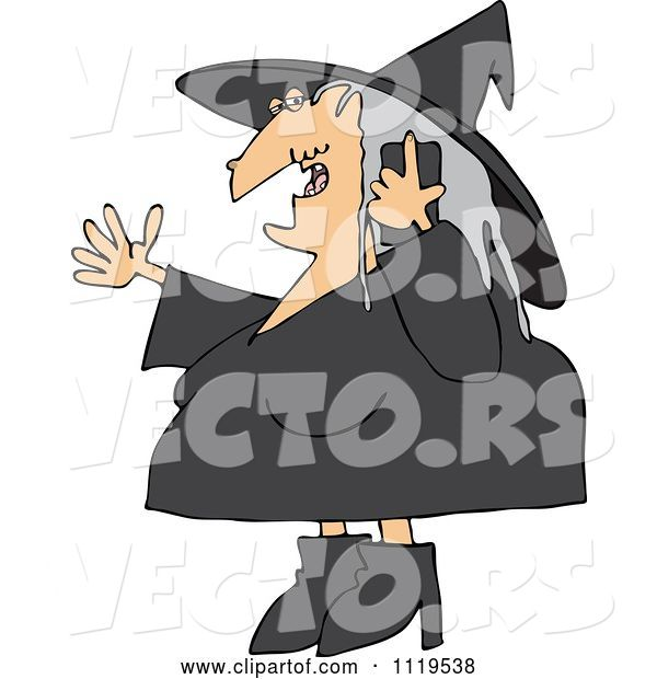 Vector of Cartoon Halloween Witch Talking on a Cell Phone