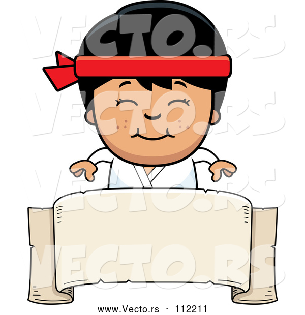 : Vector of Cartoon Happy Asian Karate Boy Smiling over a Blank Banner Sign