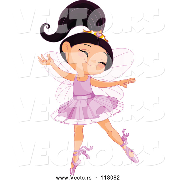 Vector of Cartoon Happy Ballerina Princess Girl Dancing