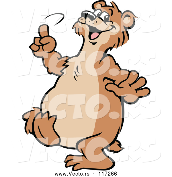 Vector of Cartoon Happy Bear Dancing