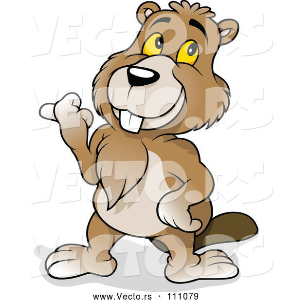Vector of Cartoon Happy Beaver Pointing to the Left