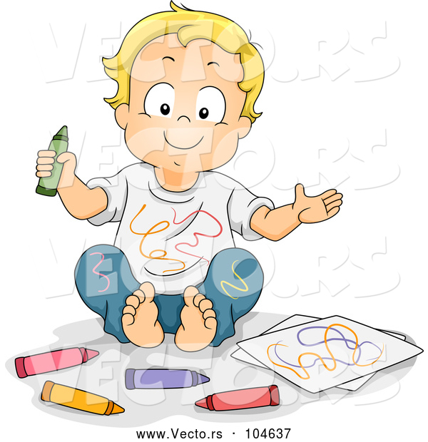 Vector of Cartoon Happy Blond White Boy Covered in Crayon Scribbles