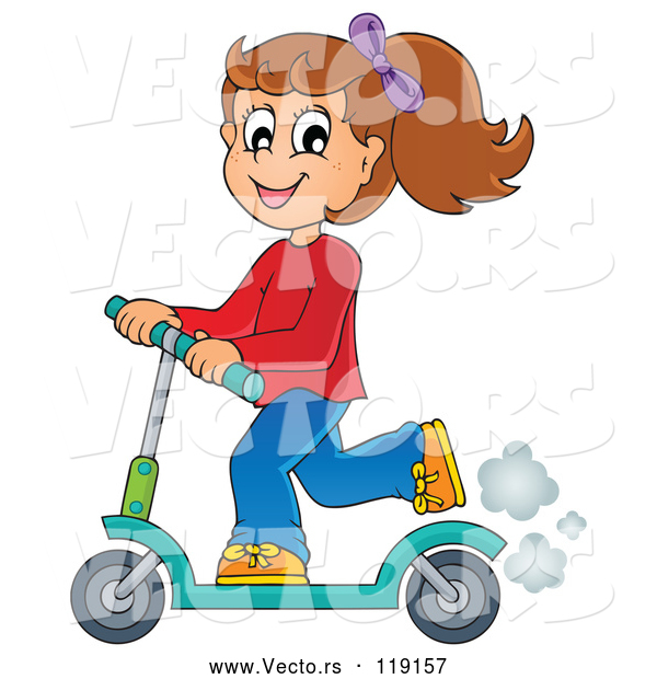 Vector of Cartoon Happy Girl Riding a Scooter
