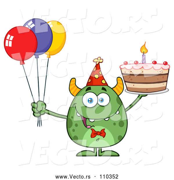 Vector of Cartoon Happy Green Horned Monster Holding a Birthday Cake and Party Balloons