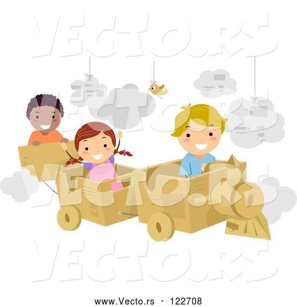 Vector of Cartoon Happy KChildren Playing with a Cardboard Train