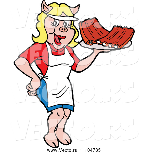 Vector of Cartoon Happy Pig Waitress Serving Bbq Ribs