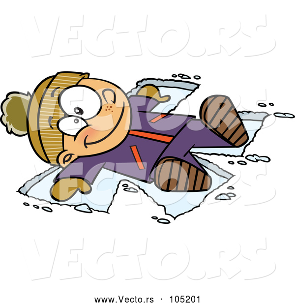 Vector of Cartoon Happy White Boy Making a Snow Angel