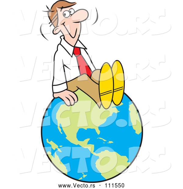 Vector of Cartoon Happy White Businessman Sitting on Top of the World
