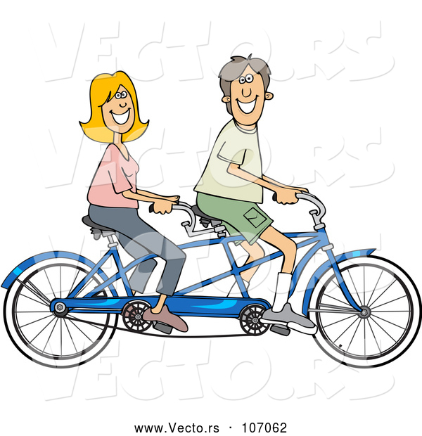 Vector of Cartoon Happy White Couple Riding a Blue Tandem Bicycle