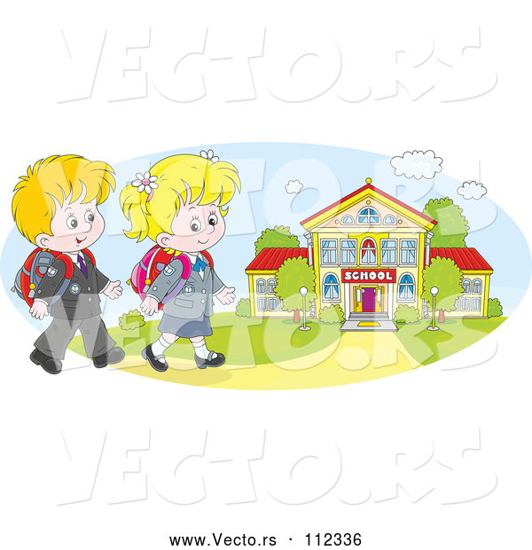 Vector of Cartoon Happy White School KChildren Walking to a Building