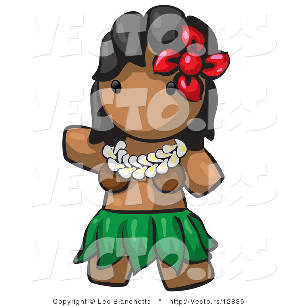Vector of Cartoon Hawaiian Hula Girl with Red Flower and Skirt