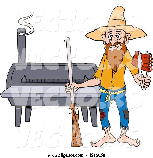 Vector of Cartoon Hillbilly Guy with a Rifle, Holding Ribs by a Bbq Smoker