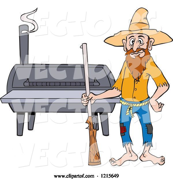 Vector of Cartoon Hillbilly Guy with a Rifle, Standing by a Bbq Smoker