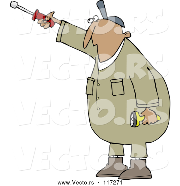 Vector of Cartoon Hispanic Worker Guy Pointing with a Nut Driver