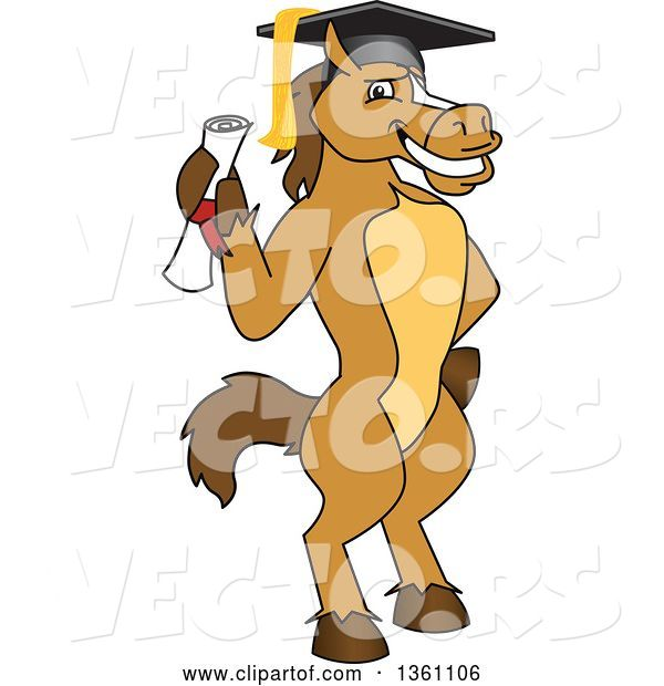 Vector of Cartoon Horse Colt Bronco Stallion or Mustang School Mascot Character Student Graduate Holding a Diploma