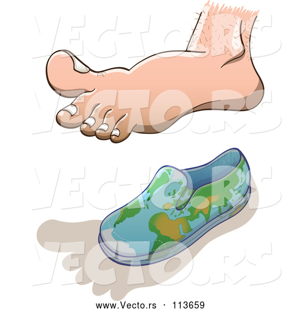 Vector of Cartoon Human Foot Casting a Shadow over a Small Globe Shoe for Earth Overshoot Day
