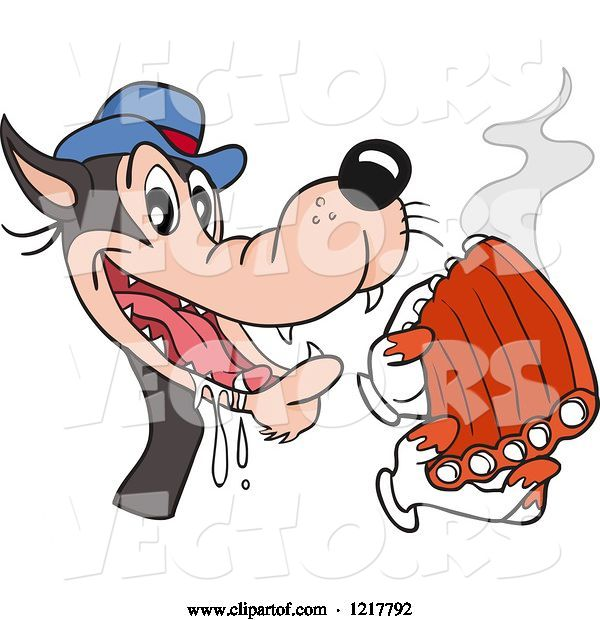 Vector of Cartoon Hungry Wolf Holding Bbq Ribs