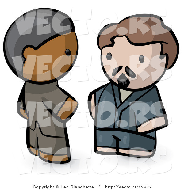 Vector of Cartoon Indian and White Guy Talking