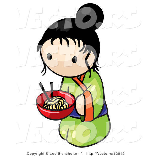 Vector of Cartoon Japanese Girl with Bowl of Saimin Noodles