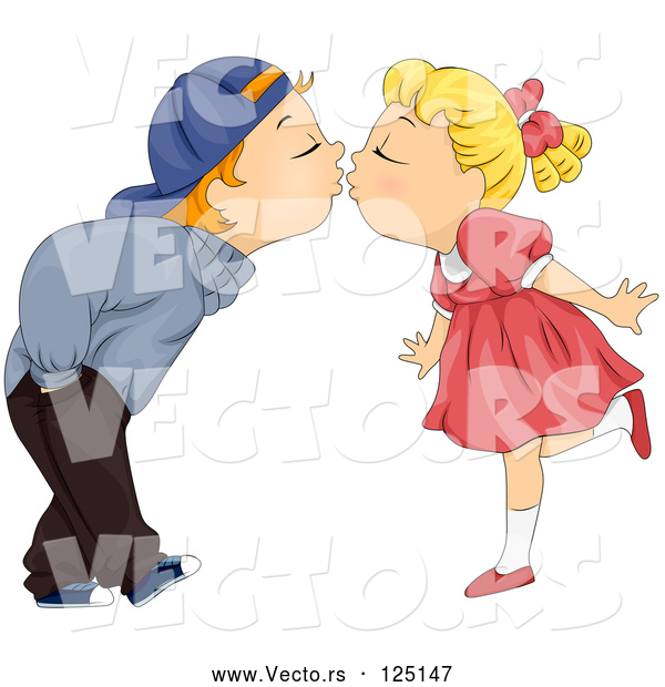 Vector of Cartoon Kid Couple Bending over to Kiss