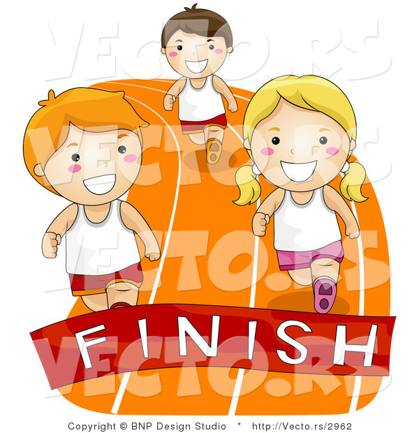 Vector of Cartoon Kids Racing to a Finish Line on a Track
