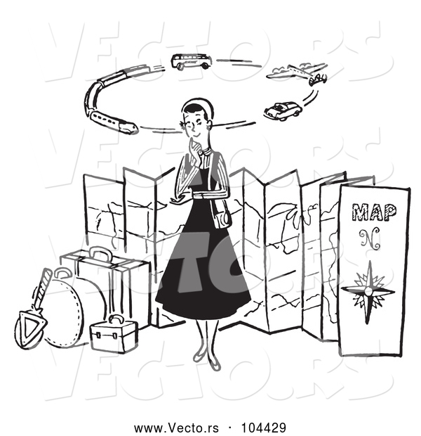 Vector of Cartoon Lady Thinking of Modes of Transportation to Embark on Her Traveling Journeys