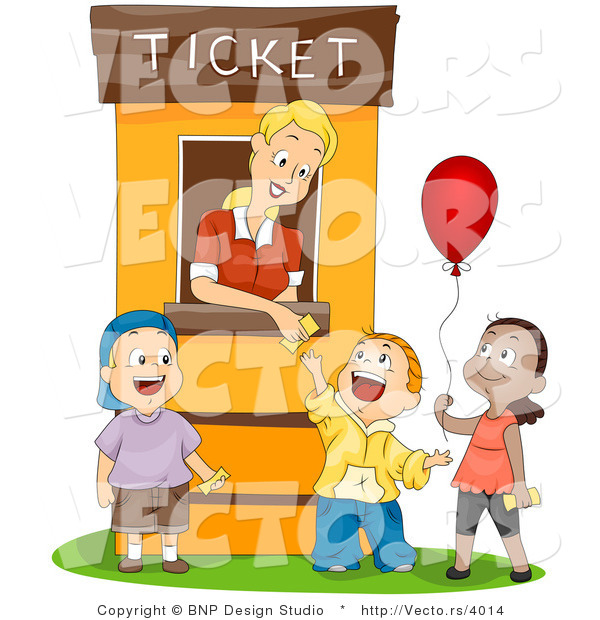 Vector of Cartoon Lady Working at Ticket Booth Assisting 3 Happy Children