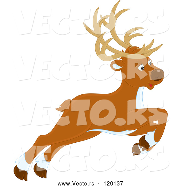 Vector of Cartoon Leaping or Flying Christmas Reindeer