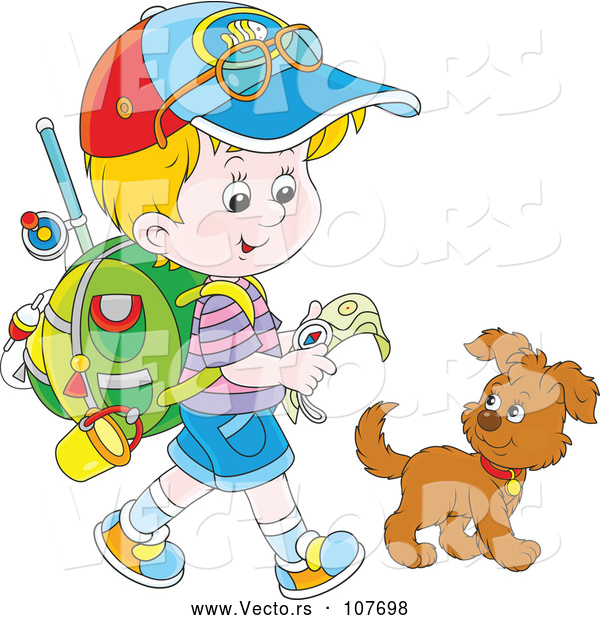 Vector of Cartoon Little Blond White Boy Ready to Go Explore, Walking with a Puppy Dog