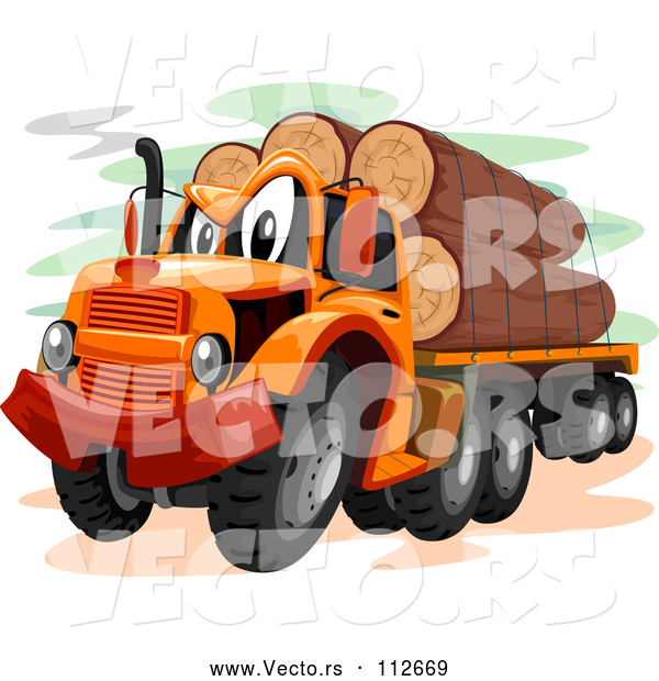 Vector of Cartoon Logging Truck
