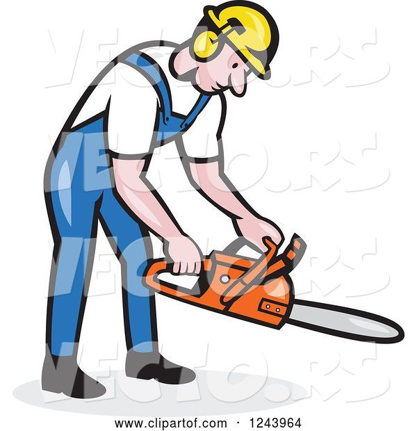 Vector of Cartoon Lumberjack Holding a Chainsaw