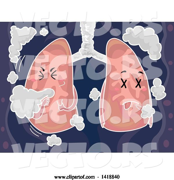 Vector of Cartoon Lungs Mascot Coughing with Smoke