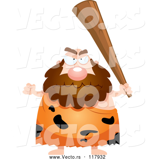 Vector of Cartoon Mad Caveman Holding up a Club