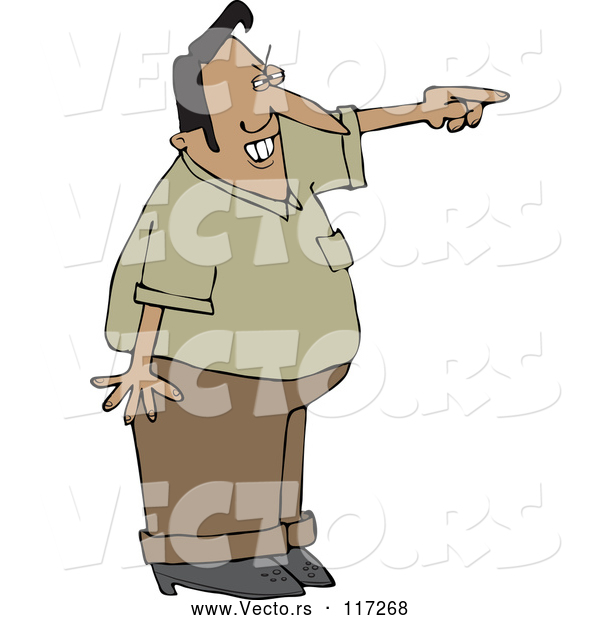 Vector of Cartoon Mad Indian Guy Pointing