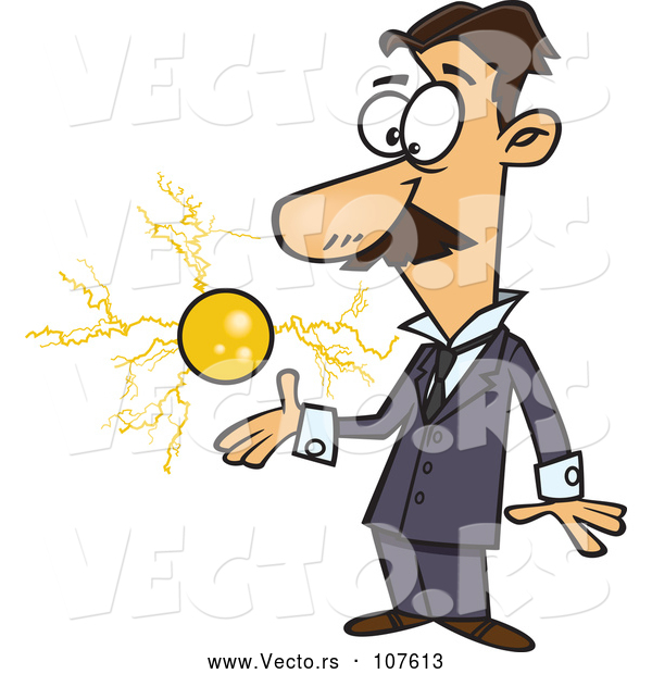 Vector of Cartoon Male Electrical Engineer, Nicola Tesla, with a Floating Ball of Energy
