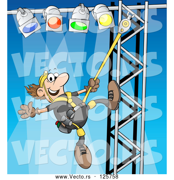 Vector of Cartoon Male Lighting Technician Setting up Lights