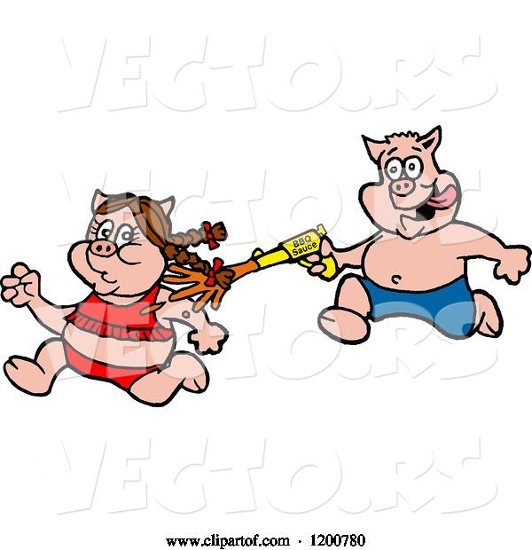 Vector of Cartoon Male Pig Chasing a Female with a Bbq Sauce Squirt Gun