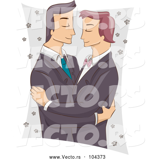 Vector of Cartoon Male Same Sex Couple Embracing at Their Wedding
