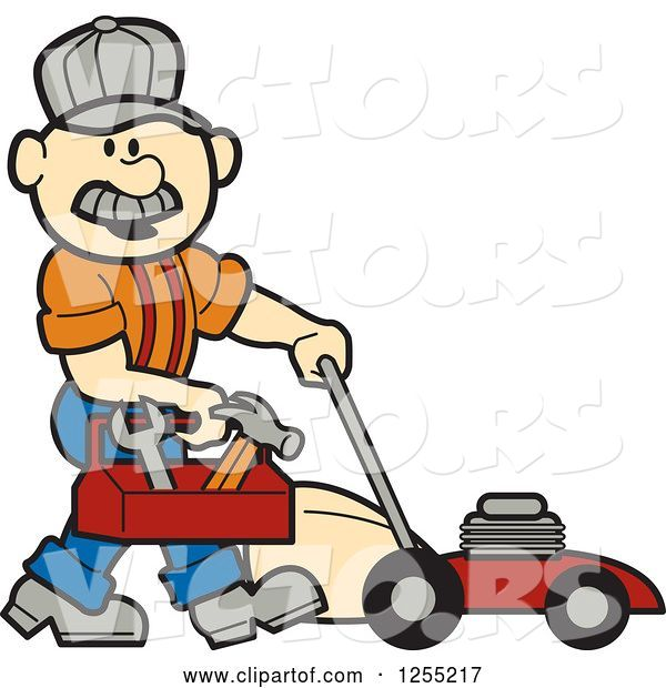 Vector of Cartoon Male White Handyman with a Tool Box and Lawn Mower