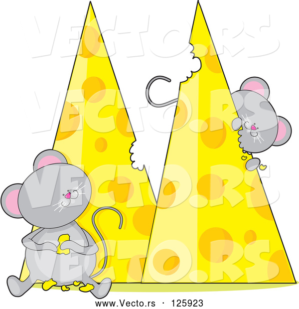 Vector of Cartoon Mice Eating Cheese