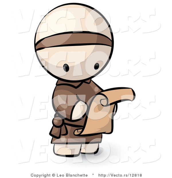 Vector of Cartoon Monk Reading Scroll Letter