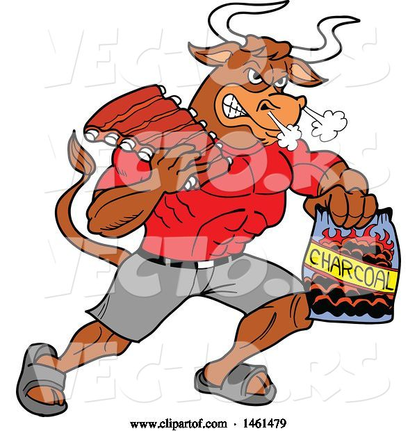 Vector of Cartoon Muscular Bull Carrying Bbq Ribs and Charcoal